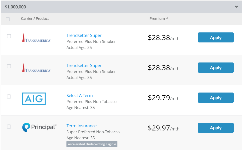 Term Life Insurance Rates for healthy 35 year old female